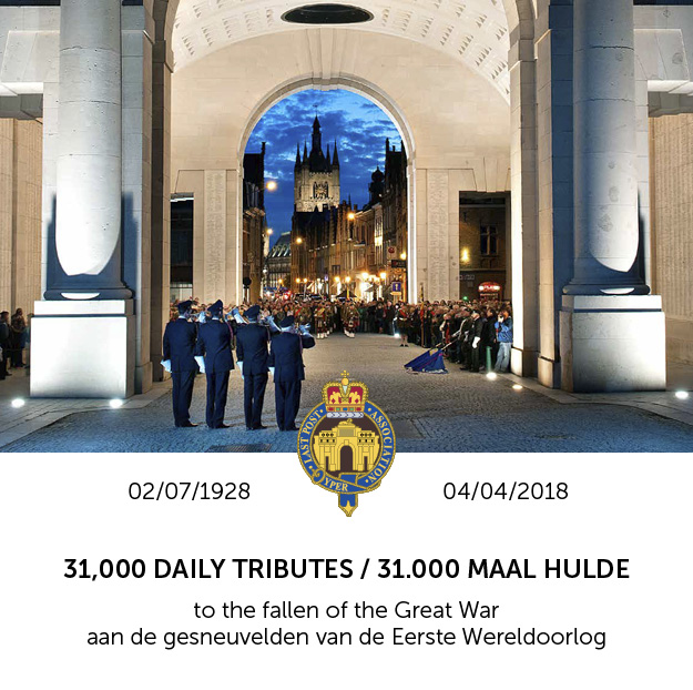 On Wednesday, 4 April 2018 at 8.00 PM, the daily Last Post will be played for the 31,000th time at the Menin Gate.